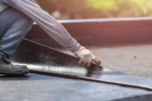 Commercial Flat Roof Repair CA contractor systems rubber roof step